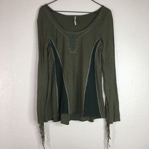 Free People green fringe tassel long sleeve shirt